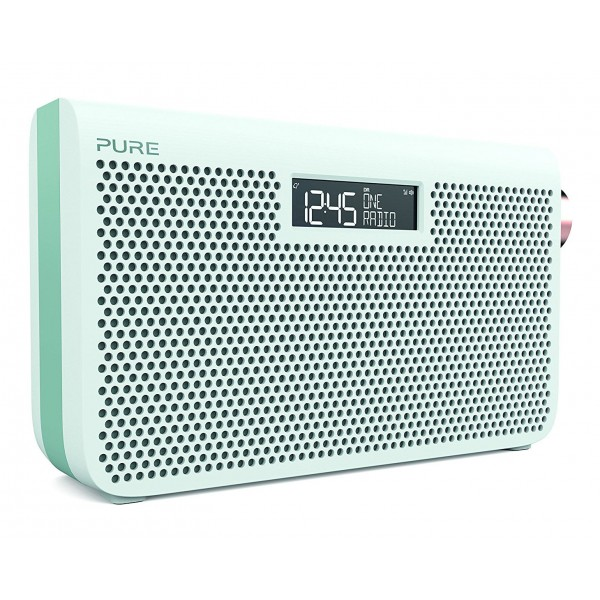Pure - One Maxi Series 3s - Bianco Giada - Stereo Portatile DAB / DAB + e Radio FM - Stile Moderno - Radio Digitale Alta Qualità