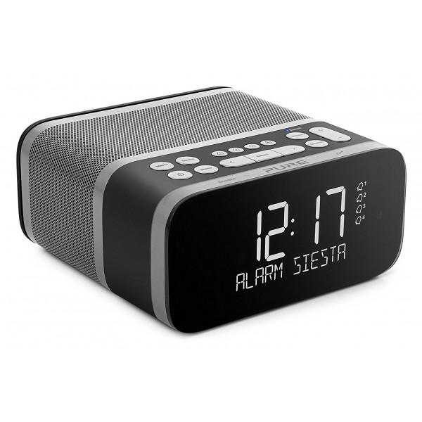 Pure - Siesta S6 - Graphite - Premium DAB+/FM Alarm Clock Radio with Bluetooth and CrystalVue+ - High Quality Digital Radio