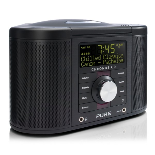 Pure - Chronos CD Series 2 - Nero - Radio Sveglia Digitale e FM con CD - Radio Digitale di Alta Qualità