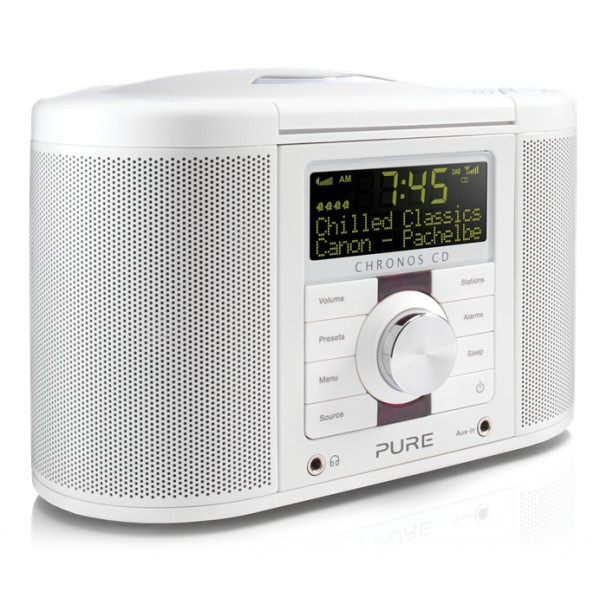 Pure - Chronos CD Series 2 - Bianco - Radio Sveglia Digitale e FM con CD - Radio Digitale di Alta Qualità