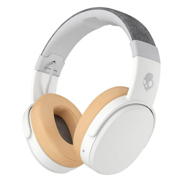 Skullcandy - Crusher - White / Tan - Bluetooth Wireless Over-Ear Headphones with Microphone - Noise Isolating Memory Foam