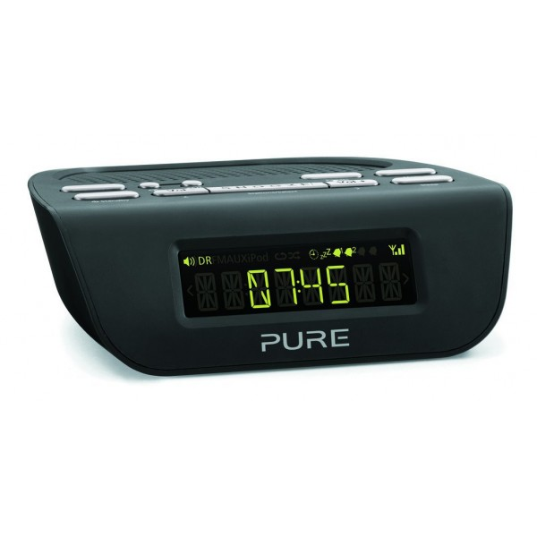 Pure - Siesta Mi Series 2 - Nero - Comodino Radio Digitale DAB e FM - Radio Digitale di Alta Qualità
