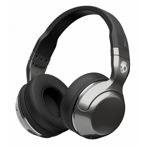 Skullcandy - Hesh 2 - Argento / Nero - Cuffie Auricolari Bluetooth Wireless Over-Ear con Microfono, Audio Supremo Bassi Potenti