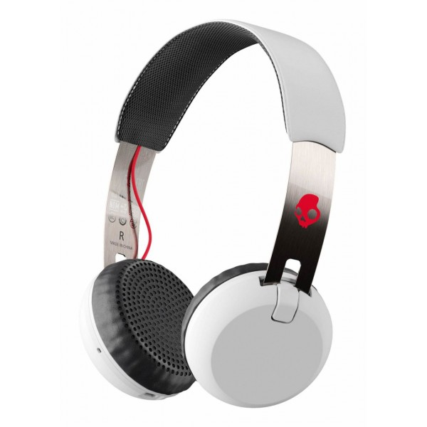 Skullcandy - Grind - Bianco - Cuffie Auricolari Bluetooth Wireless On-Ear con Microfono, Audio Supremo e Bassi Potenti