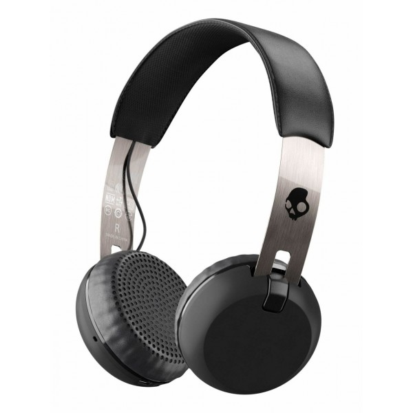 Skullcandy - Grind - Nero / Cromo - Cuffie Auricolari Bluetooth Wireless On-Ear con Microfono, Audio Supremo e Bassi Potenti