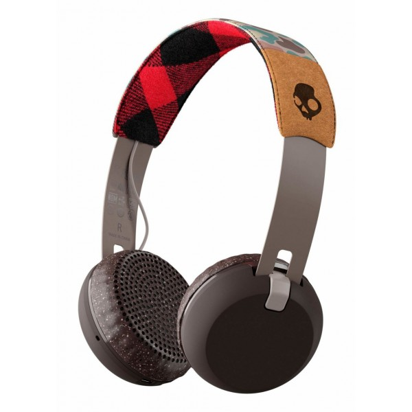 Skullcandy - Grind - Gray / Plaid - Bluetooth Wireless On-Ear Headphones with Microphone, Supreme Sound and Powerful Bass