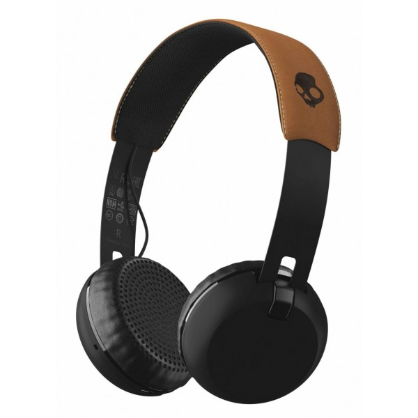 Skullcandy - Grind - Black / Tan - Bluetooth Wireless On-Ear Headphones with Microphone, Supreme Sound and Powerful Bass