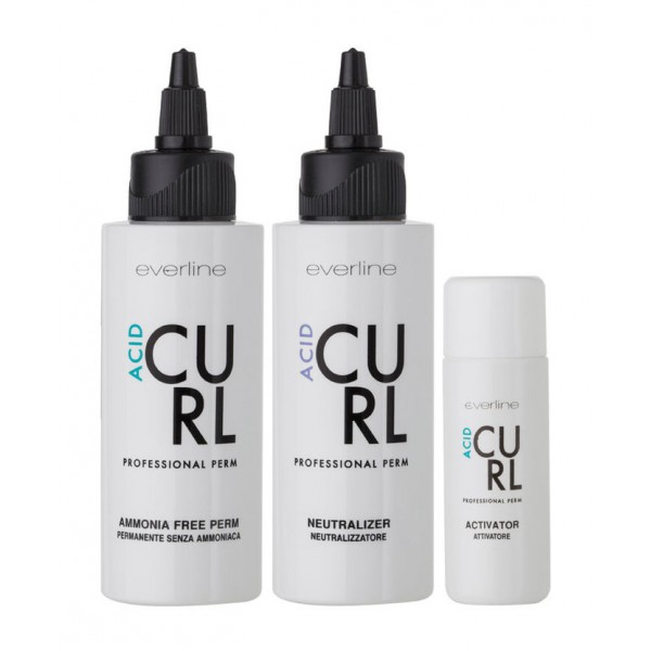Everline - Hair Solution - Curl - Acid - Permanenti - Professional Color Line - 75 + 100 + 30 ml