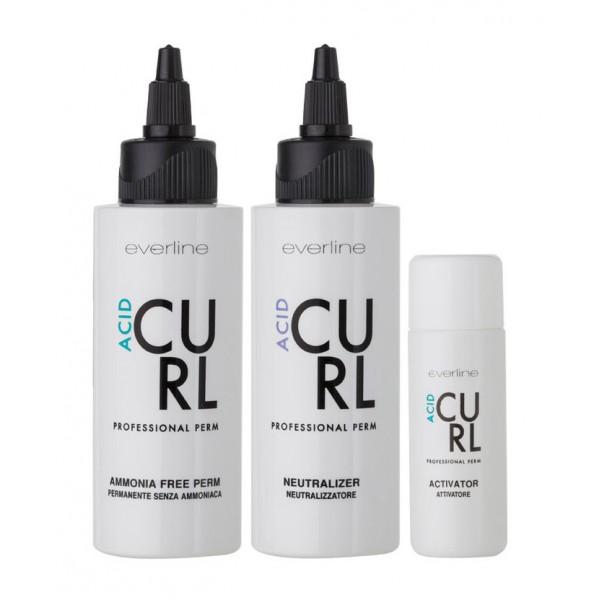 Everline - Hair Solution - Curl - Acid - Permanenti - Professional Color Line - 75 + 100 + 30 ml
