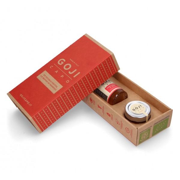Goji Capo - Bio Gift - Confettura e Succo di Goji 100 % Biologico - 100 % Italiano - Confezione Regalo - Composte Bio