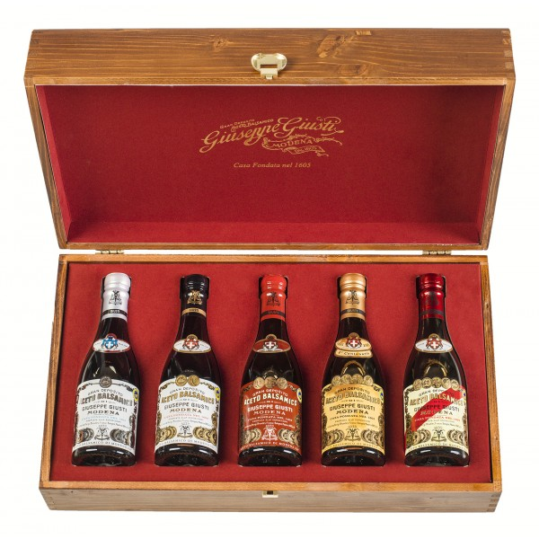 Acetaia Giuseppe Giusti - Modena 1605 - 5 Champagnotte - Wooden Gift Collections - Balsamic Vinegar of Modena I.G.P.