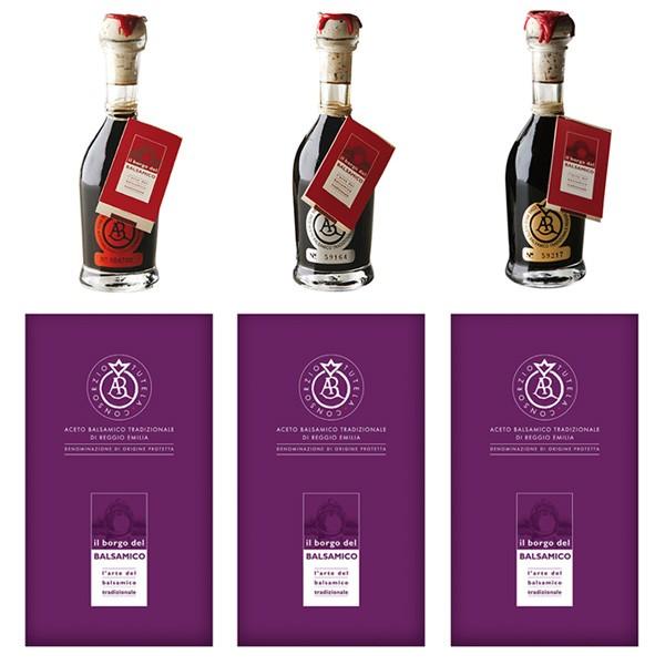Il Borgo del Balsamico - Traditional Balsamic Vinegar of Reggio Emilia D.O.P. - 25 Years - 15 Years - 12 Years - Three Stamps