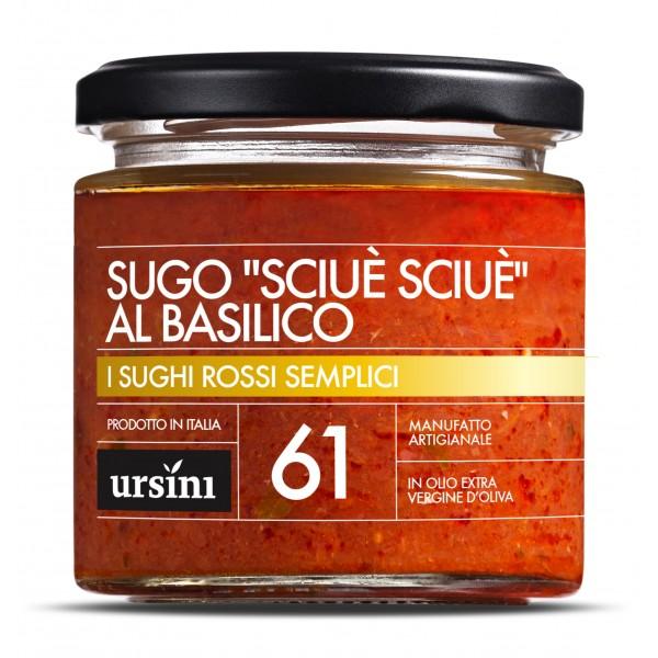 """Ursini - Sugo """"Sciuè Sciuè"""" al Basilico - 61 - I Rossi Semplici - Sughi - Olio Extravergine di Oliva Italiano"""