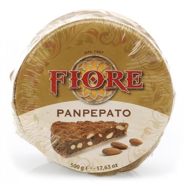 Fiore - Panforte di Siena dal 1827 - Panforte di Siena Nero - Panpepato - Panforte - Confezione Gigantino Cellophane - 500 g