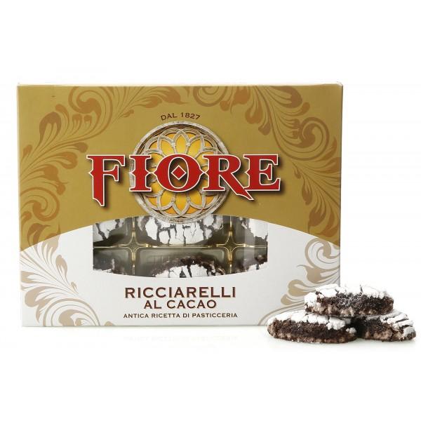 Fiore - Panforte di Siena dal 1827 - Ricciarelli di Siena Glassati al Cacao - Pasticceria - Confezione - 225 g