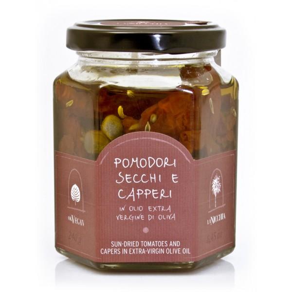 La Nicchia - Capperi di Pantelleria dal 1949 - Pomodori Secchi e Capperi in Olio Extravergine di Oliva - 240 g