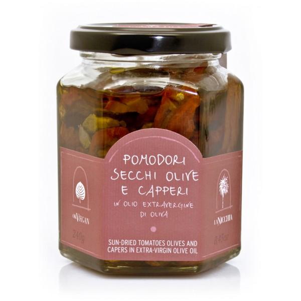 La Nicchia - Capperi di Pantelleria dal 1949 - Pomodori Secchi, Olive e Capperi in Olio Extravergine di Oliva - 240 g