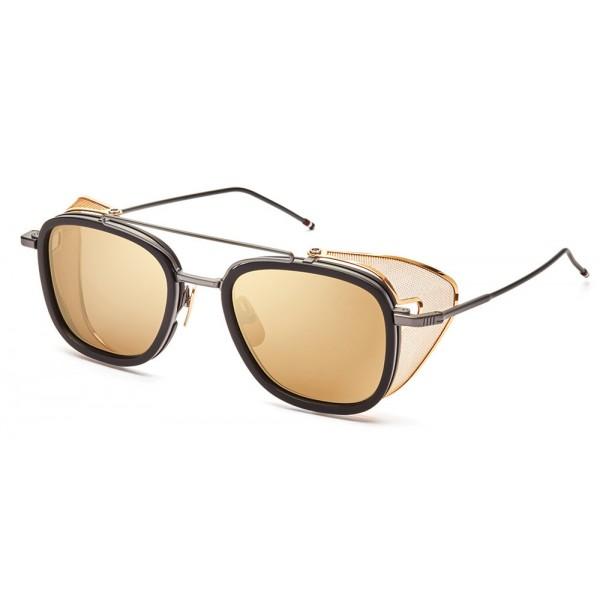 Thom Browne - Occhiali da Sole a Maglia Laterale Neri e Oro - Thom Browne Eyewear