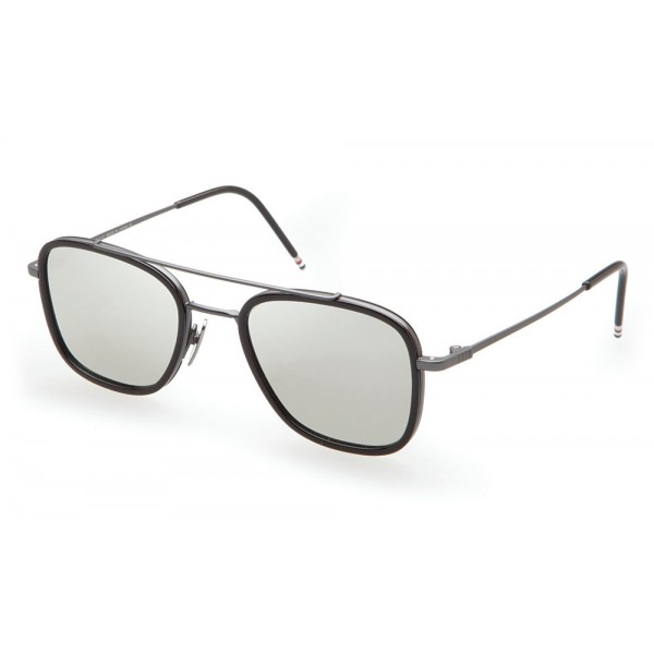 Thom Browne - Black & Gold Mesh Side Sunglasses - Thom Browne Eyewear