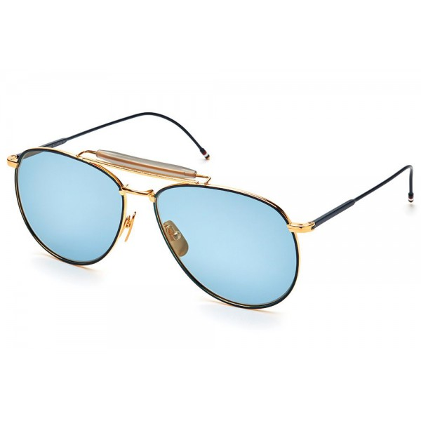 Thom Browne - Matte Navy & Yellow Gold Aviator Sunglasses - Thom Browne Eyewear