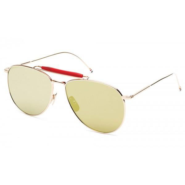 Thom Browne - Gold Aviators with Mirrored Lens Sunglasses - Thom Browne Eyewear