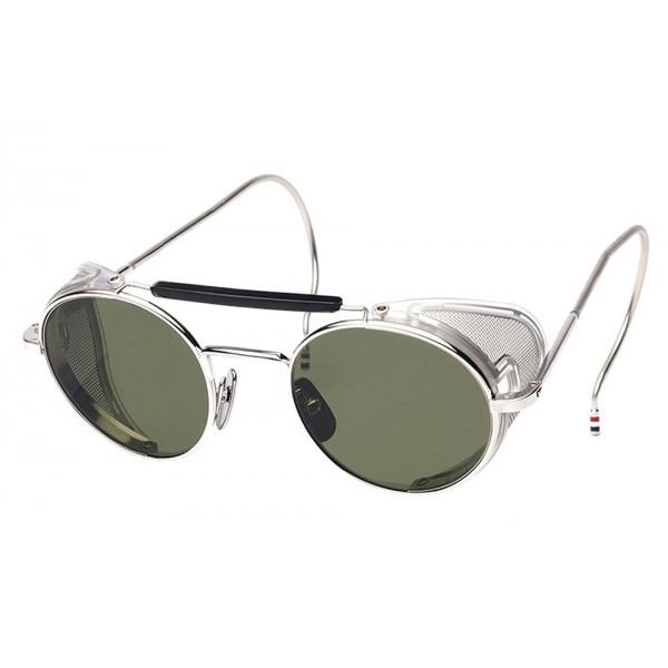 Thom Browne - Occhiali da Sole Argento Lucido con Maglia Laterale - Thom Browne Eyewear