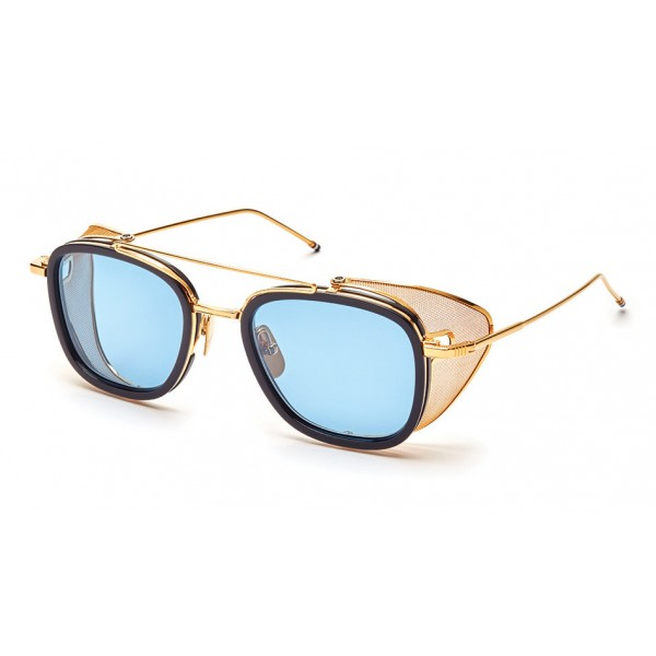 Thom Browne - Occhiali da Sole con Griglia Laterale a Rete Blu e Oro - Thom Browne Eyewear