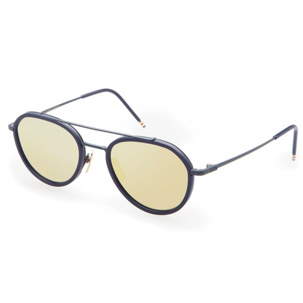 Thom Browne - Matte Navy & Dark Brown Sunglasses - Thom Browne Eyewear