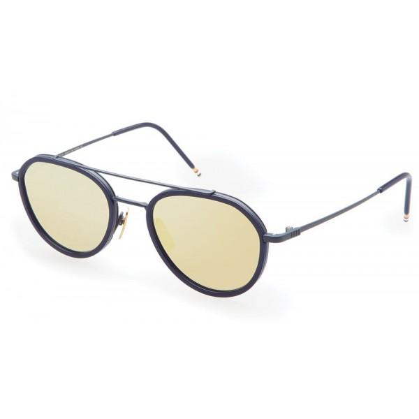 Thom Browne - Matte Navy & Dark Brown Sunglasses - Thom Browne Eyewear