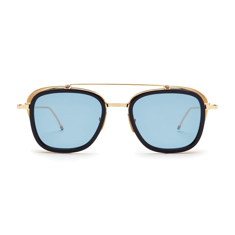 4a165814af3 Thom Browne - Navy   Gold Mesh Side Sunglasses - Thom Browne Eyewear ...