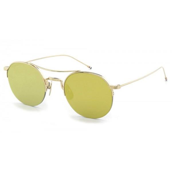 Thom Browne - Navy & Gold Mesh Side Sunglasses - 12K Gold - Thom Browne Eyewear