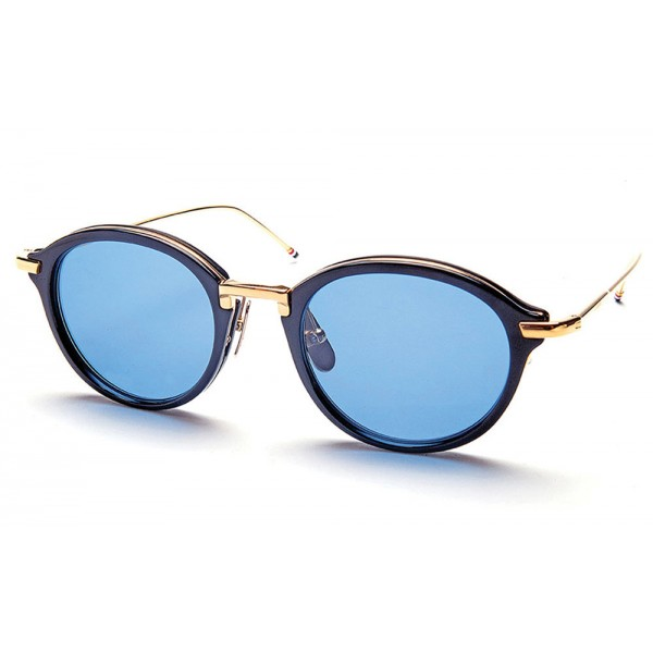 Thom Browne - Round Navy & Gold Sunglasses - 18K Gold - Thom Browne Eyewear