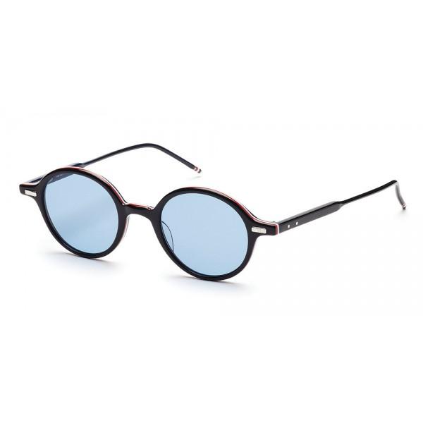 Thom Browne - Occhiali da Sole Rotondi Neri con Cornice Rossa, Bianca e Blu - Thom Browne Eyewear