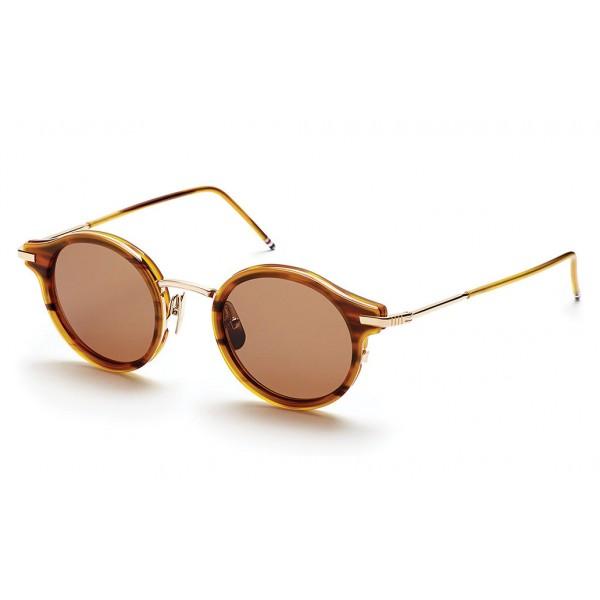 e19b9f874 Thom Browne - Round Walnut & 12K Gold Sunglasses - Thom Browne Eyewear -  Avvenice