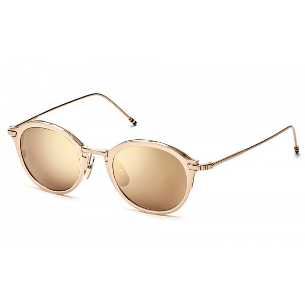 Thom Browne - Occhiali da Sole in Oro Bianco e Marrone Scuro - Thom Browne Eyewear