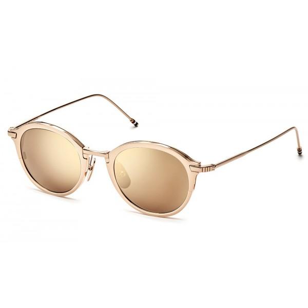 Thom Browne - Occhiali da Sole in Oro Bianco e Marrone Scuro - Thom Browne Eyewear