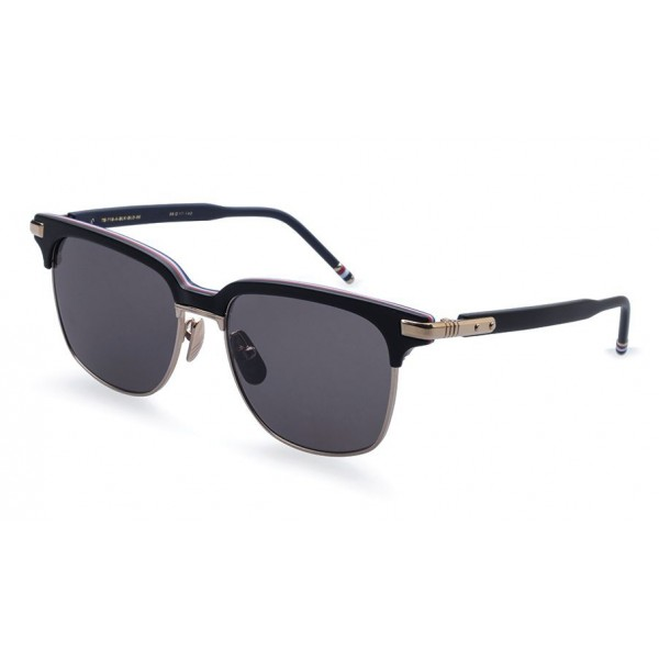 Thom Browne - Matte Black Sunglasses With Red, White And Blue Frame - Thom Browne Eyewear