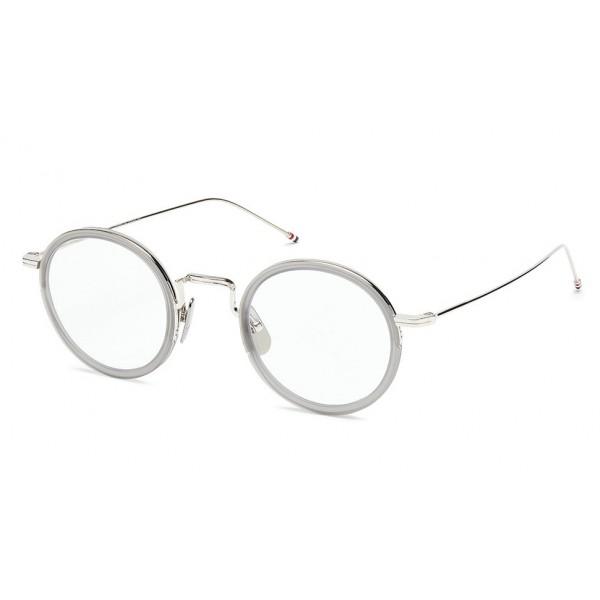 Thom Browne - Occhiali da Vista in Cristallo Grigio Satinato Tondo - Thom Browne Eyewear