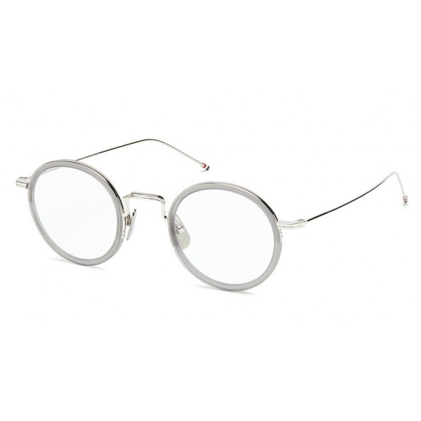 Thom Browne - Round Satin Crystal Grey Optical Glasses - Thom Browne Eyewear