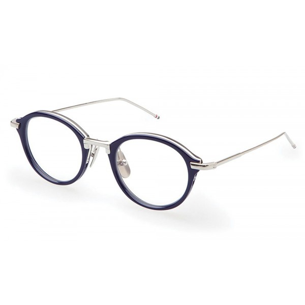 Thom Browne - Navy & Silver Optical Glasses - Thom Browne Eyewear