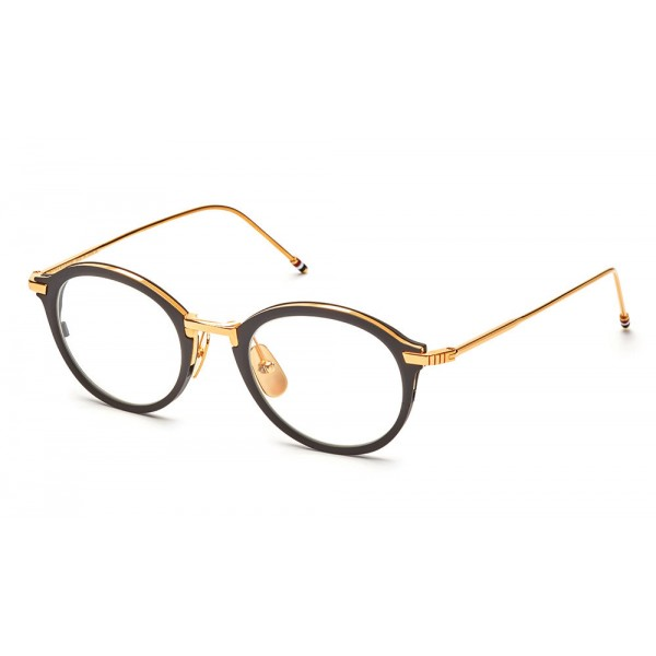 Thom Browne - Round Black & Yellow Gold Optical Glasses - Thom Browne Eyewear