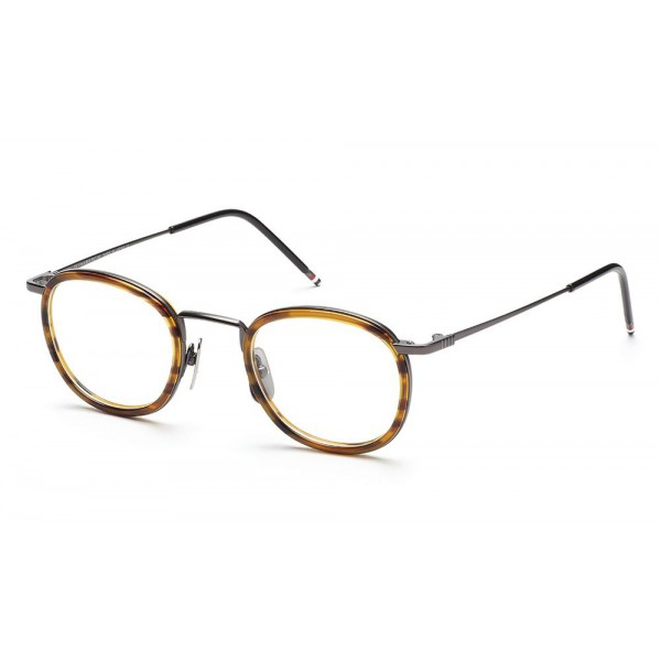Thom Browne - Occhiali in Noce e Metallo Nero con Lente da Sole a Clip - Thom Browne Eyewear