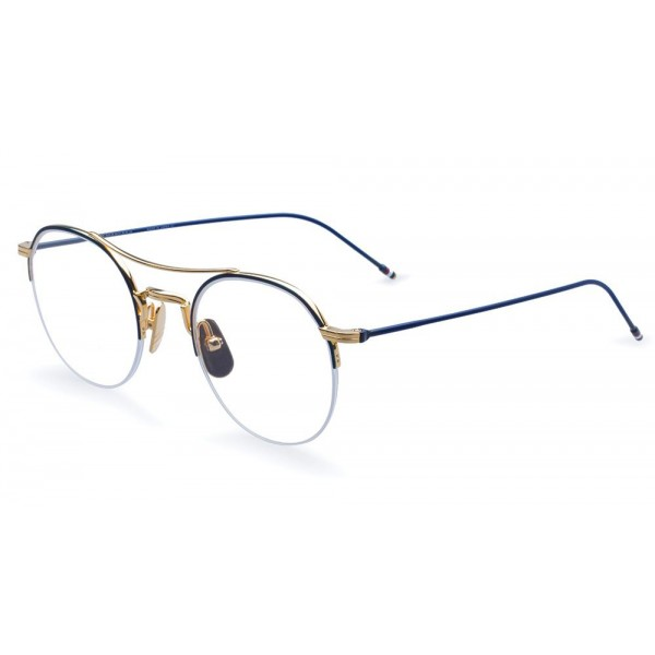 Thom Browne - 18K Gold And Navy Enamel Optical Glasses - Thom Browne Eyewear