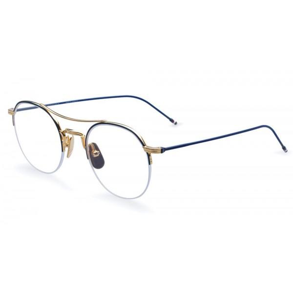 Thom Browne - Occhiali da Vista in Oro 18K e Smalto Blu Marino - Thom Browne Eyewear