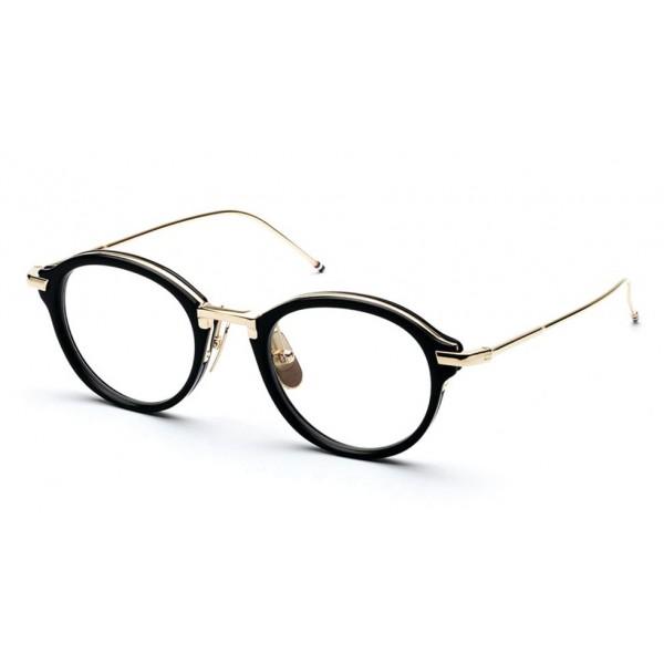 Thom Browne - Occhiali da Vista in Oro 18K e Nero Lucido - Thom Browne Eyewear