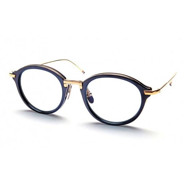 Thom Browne - Occhiali da Vista in Oro 18K e Navy Lucido - Thom Browne Eyewear