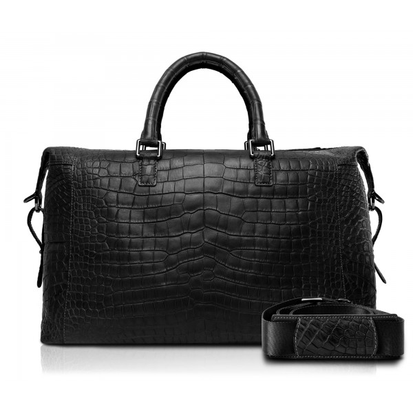 Ammoment - Lark Weekender Small in Coccodrillo - Nero - Borsa in Pelle di Alta Qualità Luxury