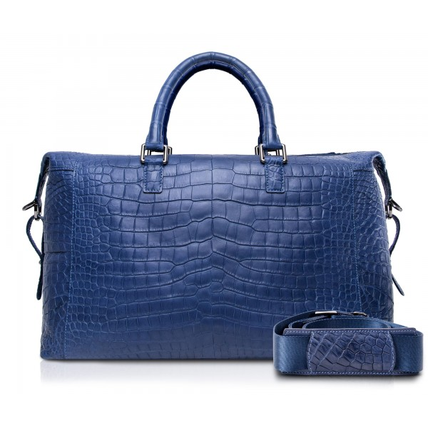 Ammoment - Lark Weekender Small in Coccodrillo - Navy - Borsa in Pelle di Alta Qualità Luxury