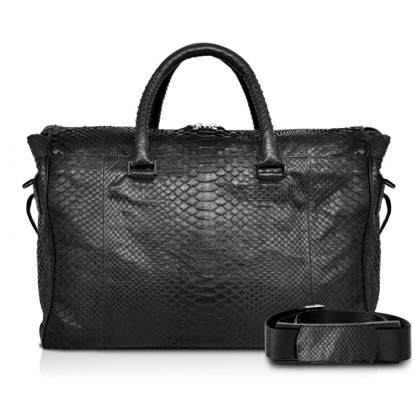 Ammoment - Lark Weekender Small in Python - Black - Luxury High Quality Leather Bag