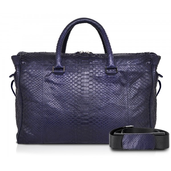 Ammoment - Lark Weekender Small in Python - Navy - Luxury High Quality Leather Bag